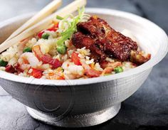 2014 Recipe Promotional Calendars - October 2014 - Oriental Mix    Oriental Mix (Serves 4)  2 lb [1kg] pork back ribs  ½ cup [125 mL] spicy barbecue sauce  ½ lb [250 g] shrimp  ½ lb [250 g] bacon  1 red pepper, chopped  1 cup [250 mL] frozen peas  1½ cups [375 mL] long grain rice    On parchment lined baking sheet, brush sauce onto ribs. In preheated 325°F [160°C] oven cook ribs for 1 to 1-1/2 hours or until meat is tender. Cook ... visit www.promocalendarsdirect.com/recipes for complete… Promotional Calendars, Oven Cooked Ribs, Pork Back Ribs, Long Grain Rice, Complete Recipe, Oven Cooking, Frozen Peas, October 2014, Barbecue Sauce