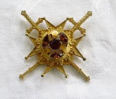 Maltese Cross Brooch Malta Cross Pendant Signed Rousseau