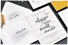 Wedding Sprinkles Invitation Suite | fun invitation with bold calligraphy | black, white, brass | Smitten On Paper