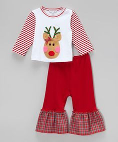 Love this White Reindeer Pima Tee & Red Pants - Infant, Toddler & Girls by Holiday by Victoria Kids on #zulily! #zulilyfinds