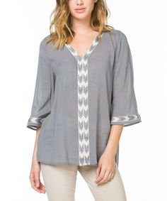 Loving this Charcoal Embroidered V-Neck Tunic on #zulily! #zulilyfinds