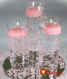 Diy wedding centerpieces pearls floating candles 27 new ideas Non Flower Centerpieces, Candle Wedding Centerpieces, Centerpiece Ideas, Candle Decorations, Graduation Centerpiece, Sweet 16 Centerpieces, Pink Party Decorations, Flowers Vase, Water Beads Centerpiece