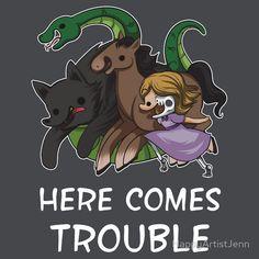 The spawn of Loki: Hel, Sleipnir, Fenrir and Jormungandr. 'Here comes trouble' on RedBubble