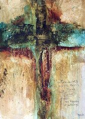 Modern Crucifix Art - Corinthians by Michel  Keck