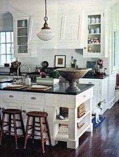 ;; love the white cabinets with black counter tops!
