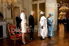 20160107 - BRUSSELS, BELGIUM: Queen Mathilde of Belgium, King Philippe - Filip of Belgium, Charles Borromee, Ambassador of Benin and his partner pictured during a New Year's reception organized by the Royal Family for the chiefs of the diplomatic missions in Belgium, at the Royal Palace in Brussels, Thursday 07 January 2016. BELGA PHOTO DIRK WAEM