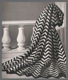black & white chevron crochet afghan