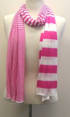 Pink and white different stripes scarf.