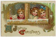 Joyful Christmas Cute Girls White CAT Looking Through Window Snow Postcard | eBay