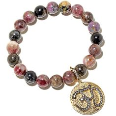 "Rarities Multicolor Tourmaline and Zircon ""OM"" Bracelet"