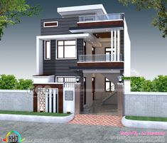 2200 sq-ft 4 bedroom India house plan modern style 2200 square feet 4 bedroom modern contemporary house plan by S. House Outer Design, House Front Design, Small House Design, Modern House Design, 3 Storey House Design, Duplex House Design, 2 Bedroom House Design, Duplex House Plans, Home Building Design