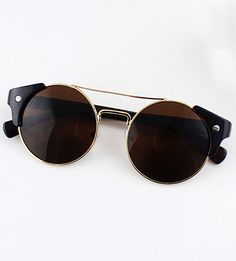 Brown Lenses Gold Round Sunglasses - Sheinside.com