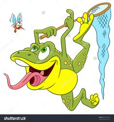Cute Happy And Hungry Cartoon Frog Is Trying To Catch A Scared Mosquito With The Help Of Insect-Net, Isolated On A White Background Стоковая векторная иллюстрация 364728395 : Shutterstock