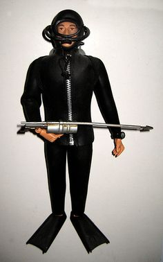 Had Scuba GI Joe - that wetsuit was crazy hard to get on and off.     G.I. Joe Action Figure Wetsuit Scuba Diver Frog Man 0081 by Brechtbug, via Flickr