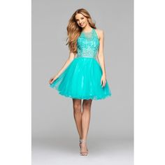 Faviana 7872 Bat Mitzvah Dress Mini Halter Sleeveless ($298) ❤ liked on Polyvore featuring dresses, formal dresses, winter green, faviana cocktail dresses, faviana dresses and faviana