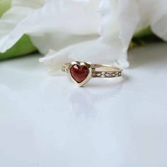Bezel Set Heart Shape Garnet Ring in Solid Yellow Gold Ring,Solitaire Gemstone Ring, Fine Valent Valentines Jewelry, Valentine Day Gifts, Garnet And Gold, Great Mothers Day Gifts, Solid Gold Jewelry, Cute Rings, Garnet Rings, Yellow Gold Rings, Jewelry Gifts