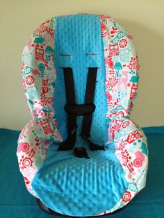 OWLS And TURQUIOS Minky Toddler Infant Convertible Car Seat Cover Fits Cosco Scenera Very Similair Free Monogram