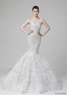 rani zakhem spring 2014 wedding dress mermaid feather skirt