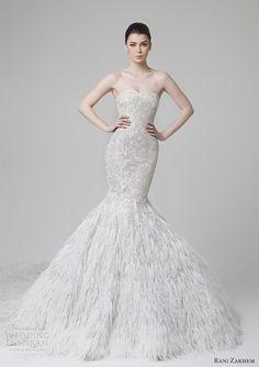 rani zakhem spring 2014 wedding dress mermaid feather skirt