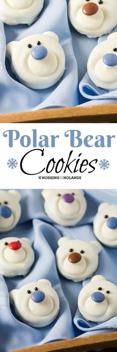 Polar Bear Cookies by Noshing With The Nolands are a fun, no-bake treat that the kids will enjoy making with you. A delightful addition to your holiday cookie tray!(Baking Cookies With Kids) Bear Cookies, Fun Cookies, Cookies Et Biscuits, Holiday Cookies, Holiday Baking, Christmas Desserts, Holiday Treats, Holiday Recipes, Christmas Recipes