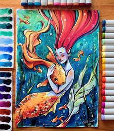 "✨Gretel Lusky✨ on Instagram: ""🔱 The Goldfish Queen 🔱 —— Here's my entry for the #copicaward2020 ✨ I haven't participated in an art contest in such a long time but I…"" Mermaid Artwork, Monster Drawing, Hair Sketch, Girl Inspiration, Fantasy Rpg, Goldfish, Character Design, Drawings, Painting"