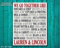 We Go Together Like Custom Wedding Gift. by LittleLifeDesigns