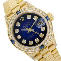 18k Rolex 69178 Datejust Blue Vignette Diamond/Sapphire Watch President Band #Rolex #DressFormal