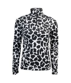 Women's Golf Apparel by Tzu Tzu Sport - Sara Top in Black Giraffe