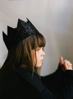 Glitter Crown for girl, black glitter crown