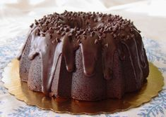 An insanely decadent chocolate bundt cake.  VERY dense & fudgey ~ this sucker weighs over 5 lbs!!!  Topped with silky smooth ganache.  This needs a 15-cup Bundt pan and it will fill it to the tippy top with batter.  If you want chocolate overload, this is for YOU!