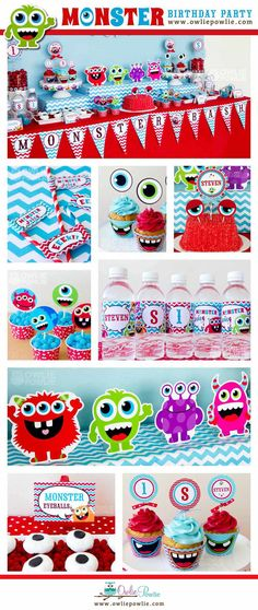 Monster Bash BIRTHDAY Red Blue Party Printable Package & Invitation, INSTANT DOWNLOAD, You Edit Yourself with Adobe Reader
