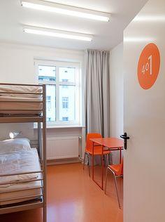 berlin 2008 - ronald s. lauder foundation - jewish - linoleum - bold - colors - orange - shared room - bedroom - zimmer - hochbett