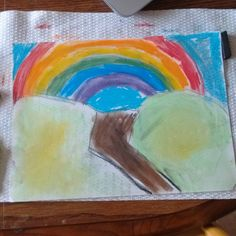 Rainbow chalk pastel by my 6 year old.  #youareanartist @hodgepodgemom