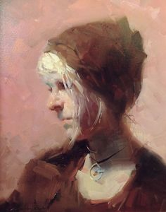 "Zhaoming Wu | ""Lyric With Hat"" 14 x 18"" original framed oil"