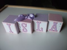 Wooden Name Blocks - Baby Name Blocks - Pink Purple Butterflies