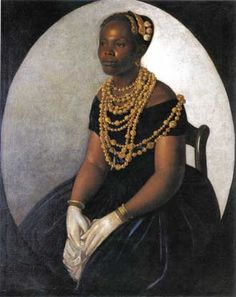 """The enigmatic mid-19th-century portrait, """"Woman from Bahía,"""" of a richly dressed Afro-Brazilian woman, is one of several paintings in Retratos that raises intriguing questions about race and cultural standing in Colonial and post-Colonial Latin America."""