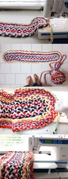 Loving this rug over at mypoppet.com braided t-shirt rug sewing progress ♥