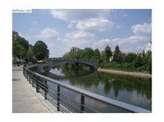 Walking path along the Danube River in the city of Neuburg an der Donau