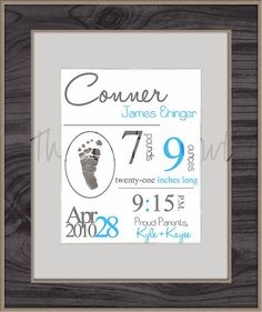Personalized Birth Announcement with Footprint by TheLittleOwlNest