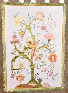 The Tree of Life with Birds - Silk Embroidery - Bordado de Castelo Branco