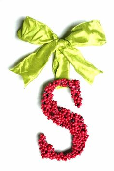 Christmas Holly Berry Wreath 12 inch letter by SpottedLeopard, $40.00