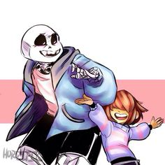 Sans and Frisk just having fun!! I give credit to the artist!