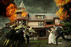 Photoshop, photography and zombies. Coolest Photo Shopped wedding party video ever. Go to this page and watch the transformation from simple wedding party pose to this pic you see here. Crazy Wedding, Geek Wedding, Wedding Humor, Our Wedding, Wedding Stuff, Dream Wedding, Wedding Shot, Wedding Album, Wedding Bells