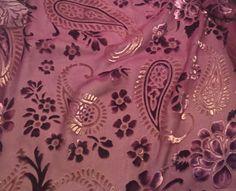 """Purple Floral Paisley - Burnout Silk Velvet (17""""x26"""")"""