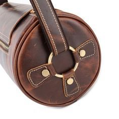"""New Arrival Casual Men's Shoulder Leather Bag, Retro Style Cylindrical Messenger Bag 1179 Model Number: 1179 Dimensions: 10.6""""L x 5.1""""W x 5.1""""H / 27cm(L) x13cm( Leather Bag Pattern, Leather Bag Tutorial, Leather Luggage, Leather Purses, Leather Backpack, Leather Wallet, Leather Handbags, Leather Crafts, Leather Art"""