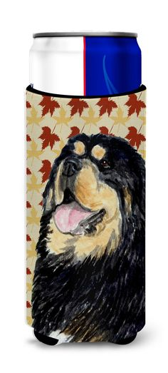 Tibetan Mastiff Fall Leaves Portrait Ultra Beverage Insulators for slim cans SS4344MUK