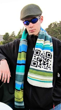 Free Knitting Pattern for QR Code Scarf