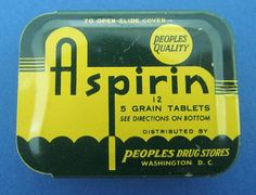 RARE Vintage ASPIRIN Tin Slide Cover Pill Box Peoples Drug Stores Advertising  #PeoplesDrugStores