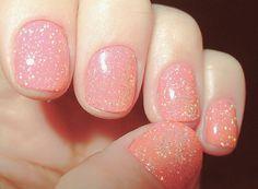 peachy pink sparkles