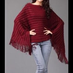 💜Knit Poncho Sweater💜 Just in time for fall❣Beautiful soft and comfy knit poncho. ONLY IN COFFEE, BLACK & RED. Perfect for layering & pairing with almost anything! Bundle & save! Sweaters Shrugs & Ponchos